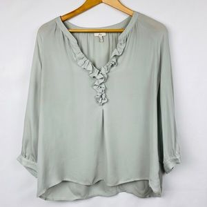 Joie Grey Silk Ruffle Blouse Top 3/4 Sleeves